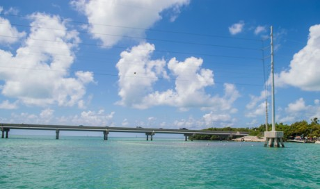 Bridges like this one connect the whole Florida Keys so people can get all the way out to Key Largo.